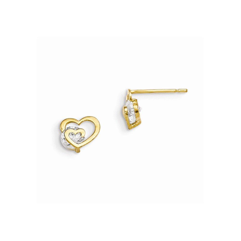 14K Yellow Gold Madi K CZ Childrens Heart Post Earrings 6 mm 6 mm Button Earrings Jewelry
