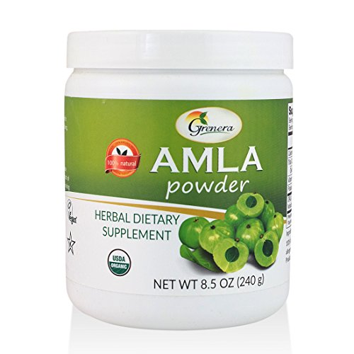 Grenera Organic Amla Powder 8.5 oz- USDA Organic, Batch Tested, Rich in ORAC Value (Best Ayurvedic Medicine For Grey Hair)