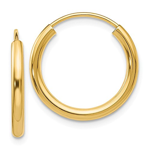 14k Yellow Gold Round Endless 2mm Hoop Earrings Ear Hoops Set Fine Jewelry Gifts For Women For Her ()