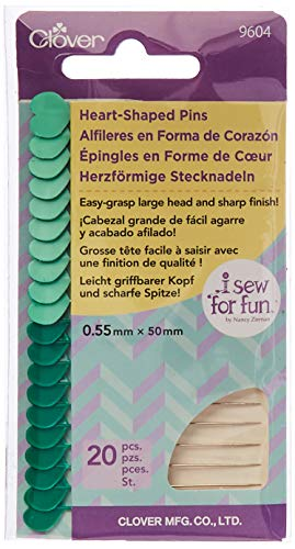 Clover 20/Pkg I Sew for Fun Heart Shaped Pins