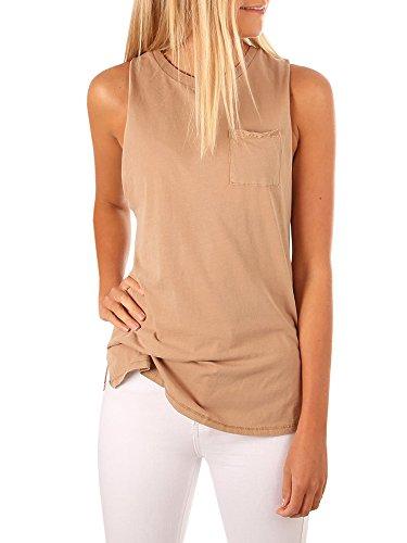 High Tank Neck (Mafulus Women's High Neck Tank Top Sleeveless Blouse Plain T Shirts Pocket Cami Summer Tops)