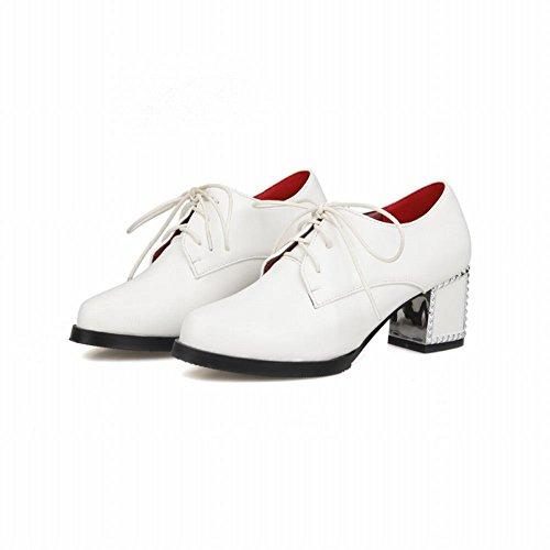 Carolbar Womens Lace Up Mode Simple Pu Mi Chunky Talon Oxfords Chaussures Blanc