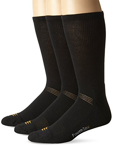 - PowerSox Men's 3-Pack Cushion Crew Socks with Coolmax, Black, Shoe Size: 9-12.5