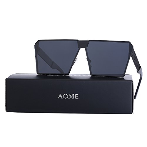 AOME Oversized Flat Top Sunglasses Square Metal Frame Mirrored Sunglasses (Black&Black, - Brands Top Designer Sunglasses