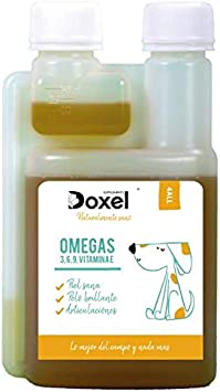 Doxel 4all-500ml Aceite para Perros| Suplemento Natural | Sistema Inmunitario Reforzado| Articulaciones sanas| Pelo Brillante| Piel Sana| Ácidos grasos Omega 3 6 9| Vitamina E| Alergias Perro|Natural