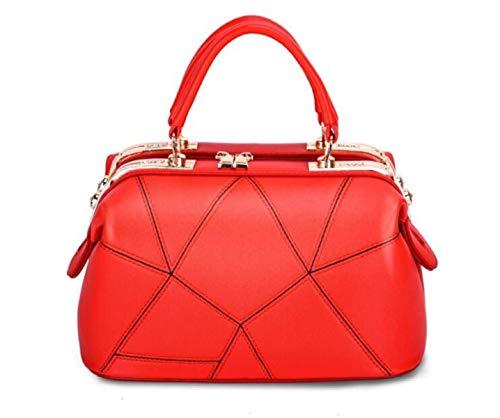 a Moontang a in tracolla Borsa donna da Borsa donna Bag Rosso Borsa Rosso PU elegante Tote da Colore Dimensione da pelle tracolla donna Borsa Medium rrqC7