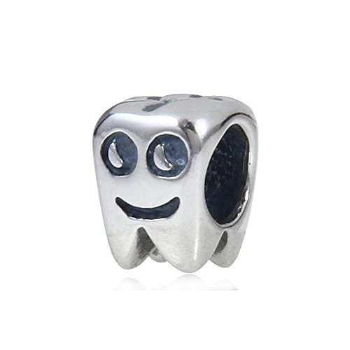 Smiling Healthy Tooth Charm - Authentic 925 Sterling Silver - Fit European Bracelets ()