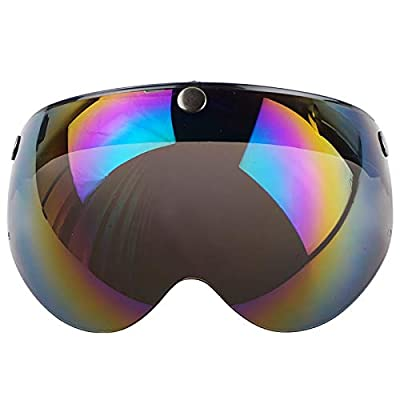 VCOROS 3 Snap 3/4 Helmet Shield with FLIP UP Hinge for TORC T50 Vintage Motorcycle Helmets (Rainbow): Automotive