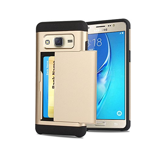 Galaxy J5 Case, CaseTop [Easy 2 Card Access] Sliding Back Door Card Holder Wallet Case - Hybrid TPU PC Cover - For Samsung Galaxy J5 (2016) / J510, Gold (Sliding Door Cases)