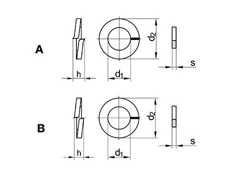 Stahl verzinkt 50 Stk DIN 127 Federring B 16