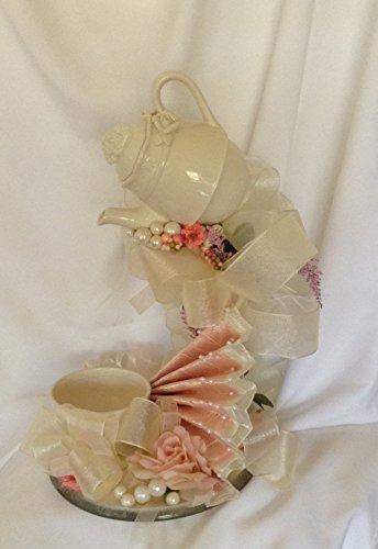 Ivory Wedding Centerpiece, Wedding Teacup Centerpiece - Floating Teacup Centerpiece - Mother's Day Teacup Centerpiece - ()