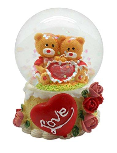 Lightahead 45MM Valentine Water Globe Polyresin Waterball Table Top Decoration ValentineDayGifts (2 Bear)
