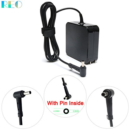 New 65W AC Charger For ASUS Q524 Q524U Q524UQ Q524UQ-BBI7T14 Q534UX Q534UX-BI7T22 Q534UX-BBI7T16 Q534U Q534 2-in-1 15.6 Touch-Screen Laptop Power Adapter Supply Cord Tip Size: 4.5 3.0mm/1 pin