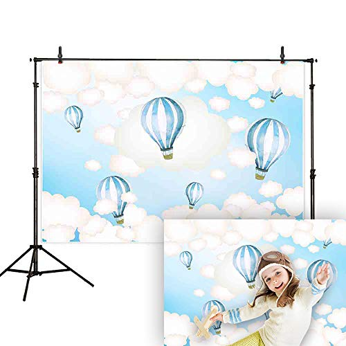 Allenjoy 7x5ft Hot Air Balloon Backdrop Kids Birthday Party Blue Sky and White Clouds Boy Baby Shower Newborn Photography Background Cake Dessert Table Decoration Banner Photo Studio -