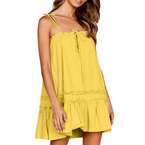 WEISUN Women Sexy Dress Casual Sleeveless Dresses Loose Cocktail Short Mini Party Dress Yellow