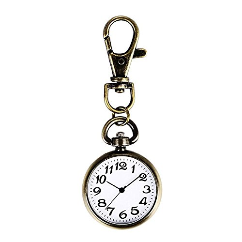 Yuchoi Bronze Tone Keychain Watch Big Dial Nurse Watch Pocket Key Chain (Keychain Pocket Watch)