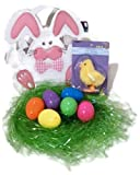 Easter Bag Bundle for Children Your Choice of Chick and Bunny Felt Design Easter Egg Basket with Green Grass, 6 Fillable Plastic Eggs and a Wind-Up Hopping Chicken Toy for Easter Egg Hunt (White)