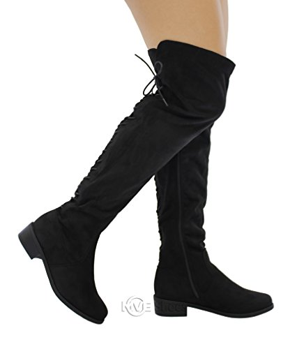 MVE Shoes Women's Back Lace up Fold Cuff Back Tie Flat High Knee Boots, Black Size 8.5