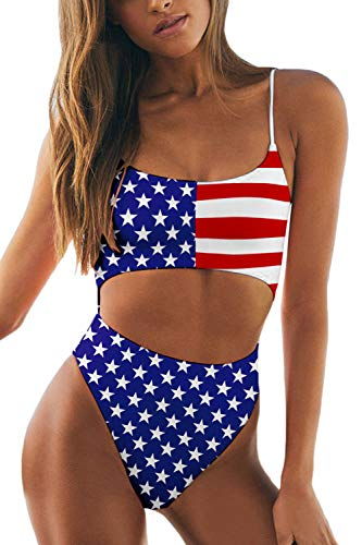 Meyeeka American Flag Monokini for Women Strappy Cut Out USA Flag Swimsuit One Piece Beachwear XL (Piece One Stretch)