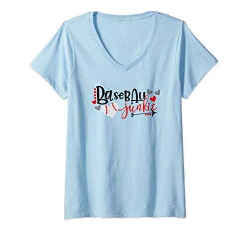 Womens Baseball Junkie V-Neck T-Shirt ()