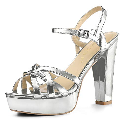 Allegra K Women's Metallic Platform Block Heel Silver Sandals - 9.5 M US