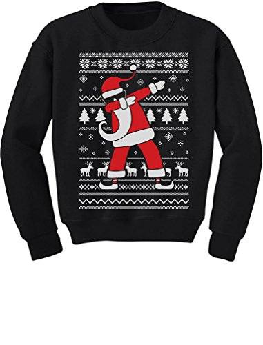 Tstars TeeStars - Dabbing Santa Funny Ugly Christmas Party Youth Kids Sweatshirt Small Black