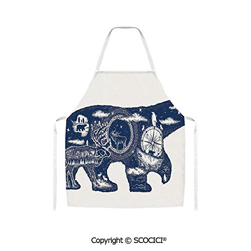 SCOCICI Cosmic Fantasy Polar Bear Tattoo Art Magical Boho Northern Nature Compass Unisex Kitchen Chef Apron for Cooking Baking Crafting Gardening and BBQ (Life Love And A Polar Bear Tattoo)