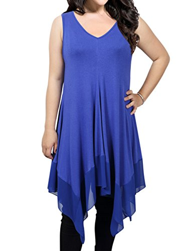 MissQee Women Short Sleeve Loose Asymmetrical Hem Tunice Top Shirt Dress Blue 2XL