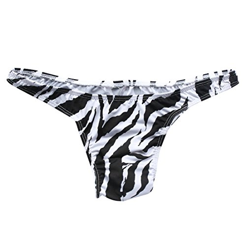 YiZYiF Men's Zebra Print Low Rise Briefs Bikini Swimwear Underwear (Black Tanga)]()
