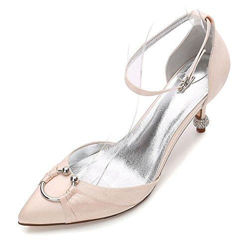 Zxstz Chaussures Mariée Soirée De sur Prom Pompe Demoiselle De Champagne Talons Fermer d'honneur Slip De Classiques Satin Toe De Femmes Mariée TPxrYqATw