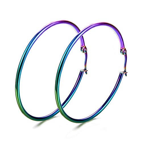 JunXin Colorful Stainless Steel Rounded Tube Hoop Earrings For Women And Girls Best Gifts