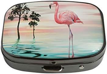 PTCRMG Image Custom Unique Pill Box Case Tablet Medicine Pocket Purse Travel Pill Vitamin Decorative Box Case Holder (Beautiful Landscape Cool Flamingo)