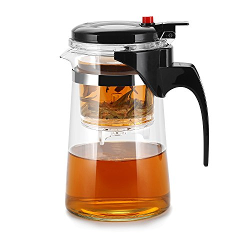 KLS Loose Leaf Tea Maker With Glass Teapot, Patented Simple Structure Built in Infuser and Convenient Cleaning Filter, Portable Tea Pot With Strainer, Loose Leaf Teapot With Tumbler Infuser - 750ML ()