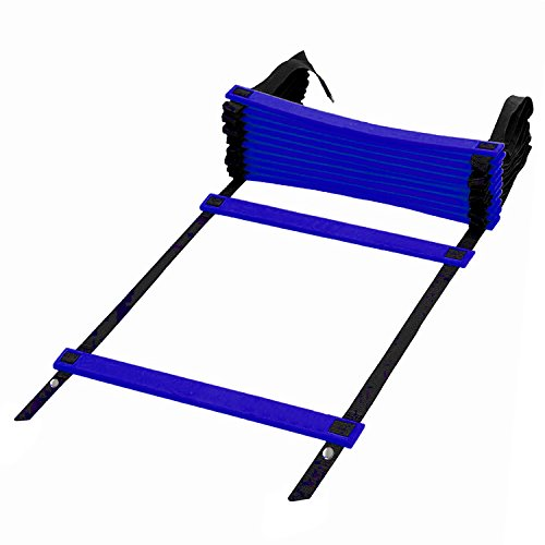 Kearui Speed Training Agility Ladder Quick Sports Ladder 12 Rung 6m Speed Training Equipment Adjustable Exercise Tool with Carry Bag for Soccer, Speed, Football Fitness Feet Training (blue)