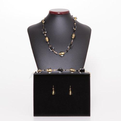 Parure Jo-Jo noir et or Veritable bijoux en verre de Murano de Venise