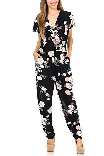 Auliné Collection Womens Short Cap Sleeve V-Neck Long Pants Romper Jumpsuit - Vintage Floral S/M