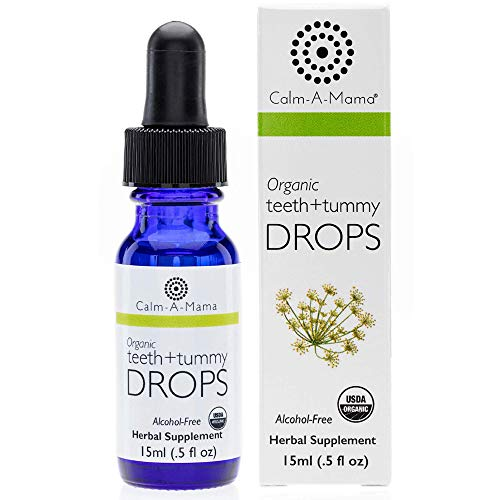 Calm-a-Mama Organic Teeth and Tummy Pain Relief Drops for Babies - 0.5oz / 15ml Natural Soothing Remedies for Newborns - Plant-Based Teeth Relief Drops Made in The USA with Organic Fennel Extract
