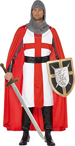 Smiffy's Men's St George Hero Costume, Tunic, Cape, Headpiece, Cuffs and Belt, Tales of Old England, Serious Fun, Size M, - St Mall Queen