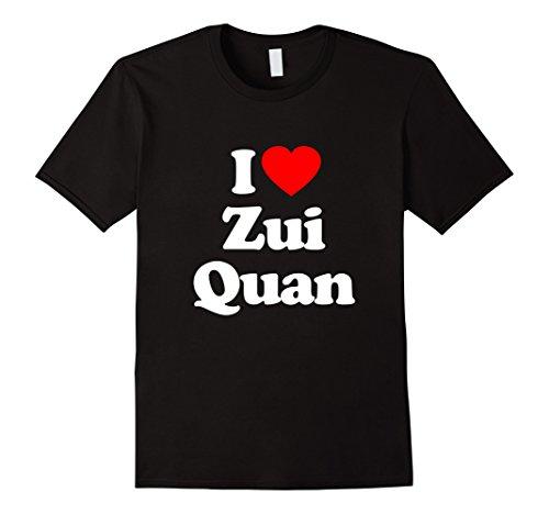 Mens I Love ZUI QUAN T-Shirt Heart Funny Tee XL Black
