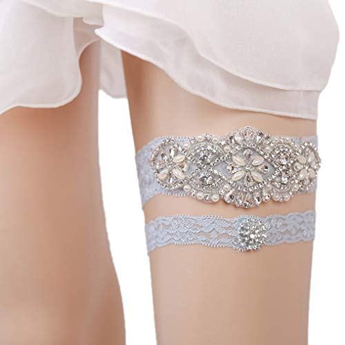 Eliffete Blue Bridal Lace Garter Set with Rhinestones for Bride Toss Away ()