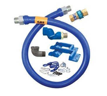 Dormont 16100BPQSR60PS 1'' Blue Hose Moveable Gas Connector Hose 60'' Long with Blue Antimicrobial PVC, 1 SnapFast QD, 1 Swivel MAX, & 1 Pair of Safety Set