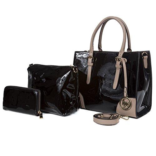 Women All-matching Cross Body Shoulder Tote Bag (Black) - 6