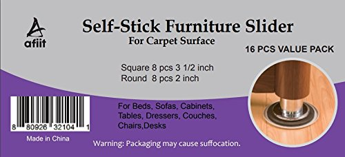 16 Furniture Sliders Furniture Movers Floor Sliders for Furniture Pads for Carpeted Hardwood Floors Easy Gliders Hard Surfaces Moving Sliders Kit - 8 Round & 8 Square Pre Adhesive Reusable Heavy Duty - By AFIT AFIIT