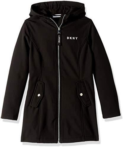 DKNY Girls' Big Long Hooded Softshell Jacket, Black, 14/16 from DKNY