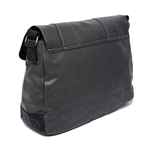 French Connection Herren Messenger Tasche Schultergurt Notebook-Sleeve anthrazit schwarz