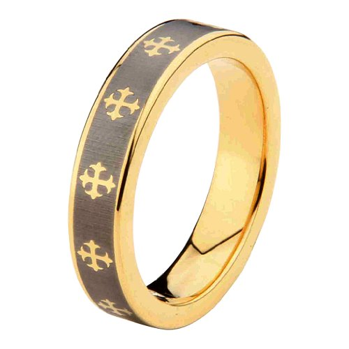 Laser Engraving Service 6mm Celtic design Cross Tungsten Carbide Gold Plated Comfort-Fit Wedding Band Ring (Size 5 to 15) - Size 8 ()
