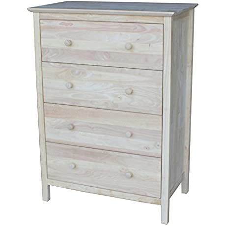 International Concepts Chest With 4 Drawers Unfinished