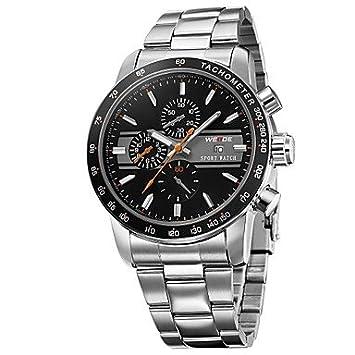 XKC-watches Relojes para Hombres, Estilo de Carreras de Acero Completo Esfera Redonda Calendario Banda Reloj Impermeable de los Hombres weide (Colores ...