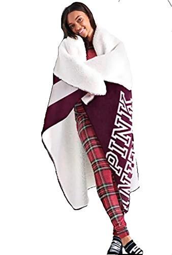 (Victoria's Secret Pink Nation Logo Sherpa Blanket 2018-50