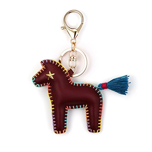 Horse Key Ring Chain, Nikang Handmade Leather Key Holder Metal Chain Charm Without Tassels, Handbag Accessories, Purse Pendant, Fashion Item, Car Key Chain, Idea for Woman, Red Brown